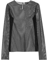 Camiseta de manga larga de malla negra de Tom Ford