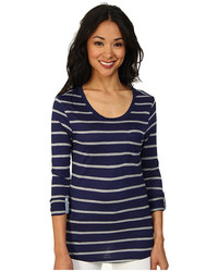 Camiseta de manga larga de rayas horizontales azul marino