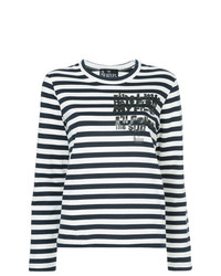 Camiseta de Manga Larga de Rayas Horizontales Azul Marino y Blanca de Comme Des Garcons Play