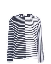 Camiseta de Manga Larga de Rayas Horizontales Azul Marino y Blanca de Sacai