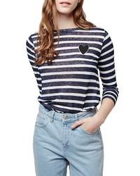 Camiseta de Manga Larga de Rayas Horizontales Azul Marino de Topshop