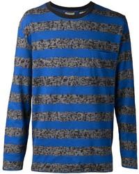 Camiseta de manga larga de rayas horizontales azul