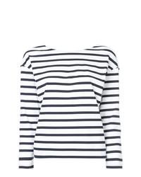 Camiseta de Manga Larga de Rayas Horizontales Blanca y Azul Marino de Loveless