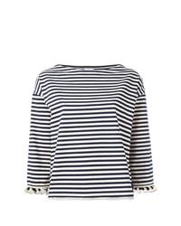 Camiseta de Manga Larga de Rayas Horizontales Blanca y Azul Marino de Moncler