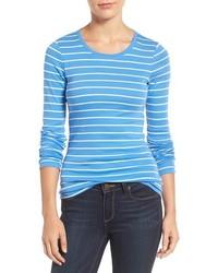 Camiseta de Manga Larga de Rayas Horizontales Blanca y Azul de Caslon