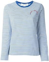 Camiseta de Manga Larga de Rayas Horizontales Blanca y Azul de Marc Jacobs