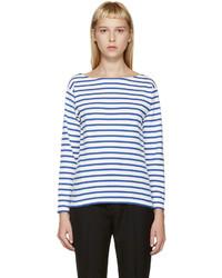 Camiseta de Manga Larga de Rayas Horizontales Blanca y Azul de Saint Laurent