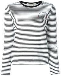 Camiseta de Manga Larga de Rayas Horizontales Blanca y Negra de Marc Jacobs