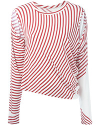 Camiseta de Manga Larga de Rayas Horizontales Blanca y Roja de MM6 MAISON MARGIELA