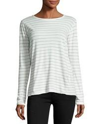 Camiseta de manga larga de rayas horizontales blanca de Current/Elliott