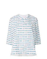 Camiseta de manga larga de rayas horizontales blanca de Sacai