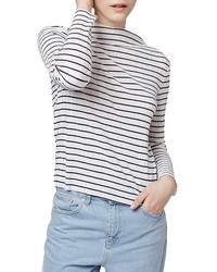 Camiseta de Manga Larga de Rayas Horizontales Blanca de Topshop