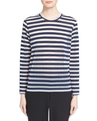 Camiseta de manga larga de rayas horizontales en blanco y azul marino de Comme des Garcons