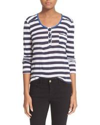 Camiseta de manga larga de rayas horizontales en blanco y azul marino de Frame