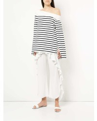 Camiseta de manga larga de rayas horizontales en blanco y azul marino de Goen.J