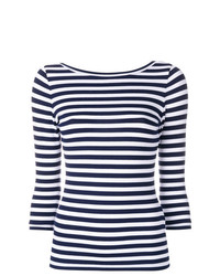 Camiseta de manga larga de rayas horizontales en blanco y azul marino de Natasha Zinko