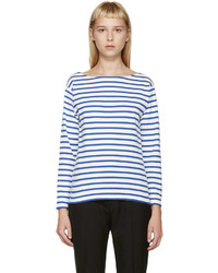 Camiseta de manga larga de rayas horizontales en blanco y azul marino de Saint Laurent