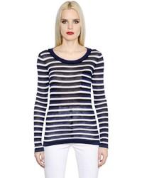Camiseta de manga larga de rayas horizontales en blanco y azul marino de Sonia Rykiel