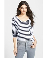 Camiseta de manga larga de rayas horizontales en blanco y azul marino de Splendid