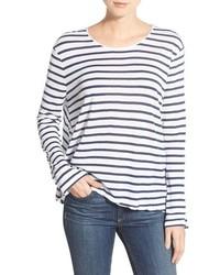 Camiseta de manga larga de rayas horizontales en blanco y azul de Rag & Bone