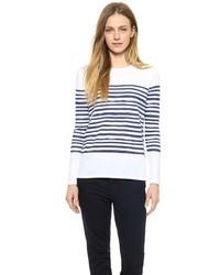 Camiseta de manga larga de rayas horizontales en blanco y azul de Vince