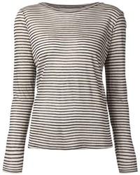 Camiseta de manga larga de rayas horizontales en blanco y negro de Enza Costa