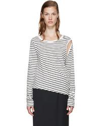 Camiseta de manga larga de rayas horizontales en blanco y negro de MM6 MAISON MARGIELA