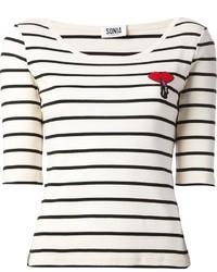 Camiseta de manga larga de rayas horizontales en blanco y negro de Sonia Rykiel