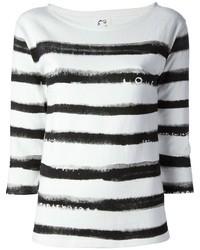 Camiseta de manga larga de rayas horizontales en blanco y negro de Tsumori Chisato