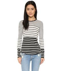 Camiseta de manga larga de rayas horizontales en blanco y negro de Vince