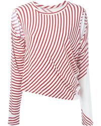 Camiseta de manga larga de rayas horizontales en blanco y rojo de MM6 MAISON MARGIELA