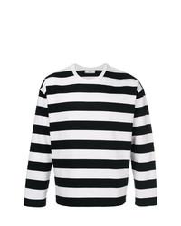 Camiseta de manga larga de rayas horizontales en negro y blanco de AMI Alexandre Mattiussi