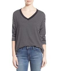 Camiseta de manga larga de rayas horizontales en negro y blanco de Amour Vert