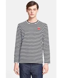Camiseta de manga larga de rayas horizontales en negro y blanco de Comme des Garcons
