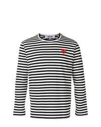 Camiseta de manga larga de rayas horizontales en negro y blanco de Comme Des Garcons Play