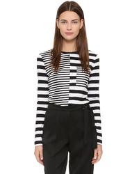 Camiseta de manga larga de rayas horizontales en negro y blanco de Edun
