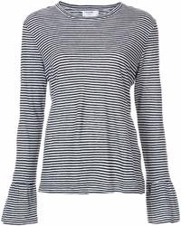 Camiseta de manga larga de rayas horizontales en negro y blanco de Frame