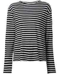 Camiseta de manga larga de rayas horizontales en negro y blanco de R 13