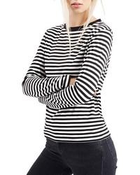 Camiseta de manga larga de rayas horizontales en negro y blanco de Topshop