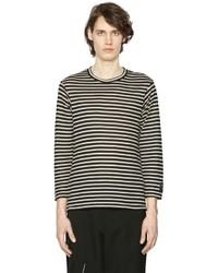 Camiseta de manga larga de rayas horizontales en negro y blanco de Yohji Yamamoto