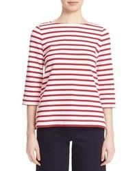Camiseta de Manga Larga de Rayas Horizontales Roja y Blanca de Kate Spade