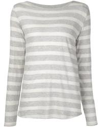 Camiseta de manga larga de rayas horizontales gris de Majestic Filatures