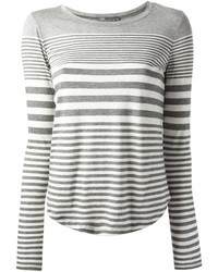 Camiseta de manga larga de rayas horizontales gris de Vince