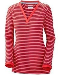 Camiseta de manga larga de rayas horizontales roja
