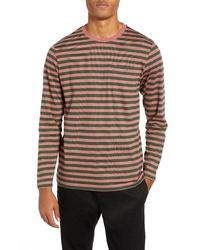 Camiseta de manga larga de rayas horizontales rosada