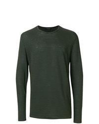 Camiseta de manga larga de rayas horizontales verde oscuro