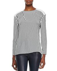 Camiseta de manga larga de rayas verticales en blanco y negro