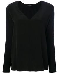 Camiseta de manga larga de seda negra de Twin-Set