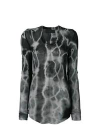 Camiseta de manga larga efecto teñido anudado en gris oscuro de Marc Le Bihan