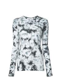 Camiseta de manga larga efecto teñido anudado en negro y blanco de Proenza Schouler